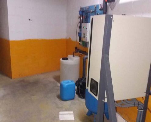 Sala de máquinas Desinfección legionella hotel de Sevilla