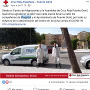 Agradecimiento de la Asamblea de Cruz Roja (Puente Genil) a PLAGASOL desinfecciones.
